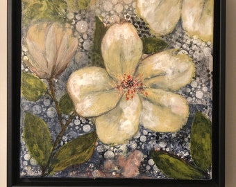 White Magic - mixed media art & collage, original artwork, impressionism, flower art, acrylic painting