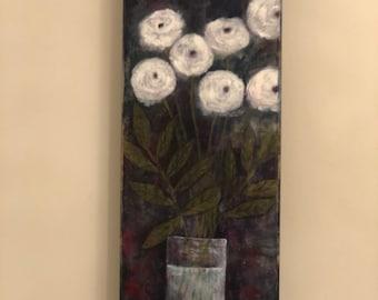 Study in white - mixed media art, collage, acrylic painting, art decor, wall painting, beautiful art, original art, original artwork