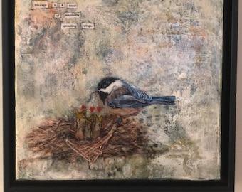 Love Nest - mixed media & collage, mixed media art, nature art, mother bird, original art