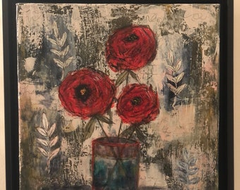 Study in Blue & Red Vase -- mixed media art, mixed media and collage, original art, acrylic painting, original painting, impressionism