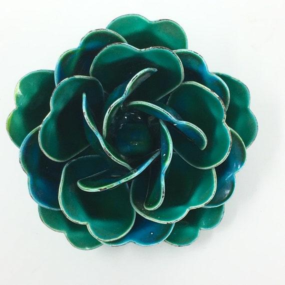 Vintage 1960's Enamel Teal Rose Flower Brooch Pin