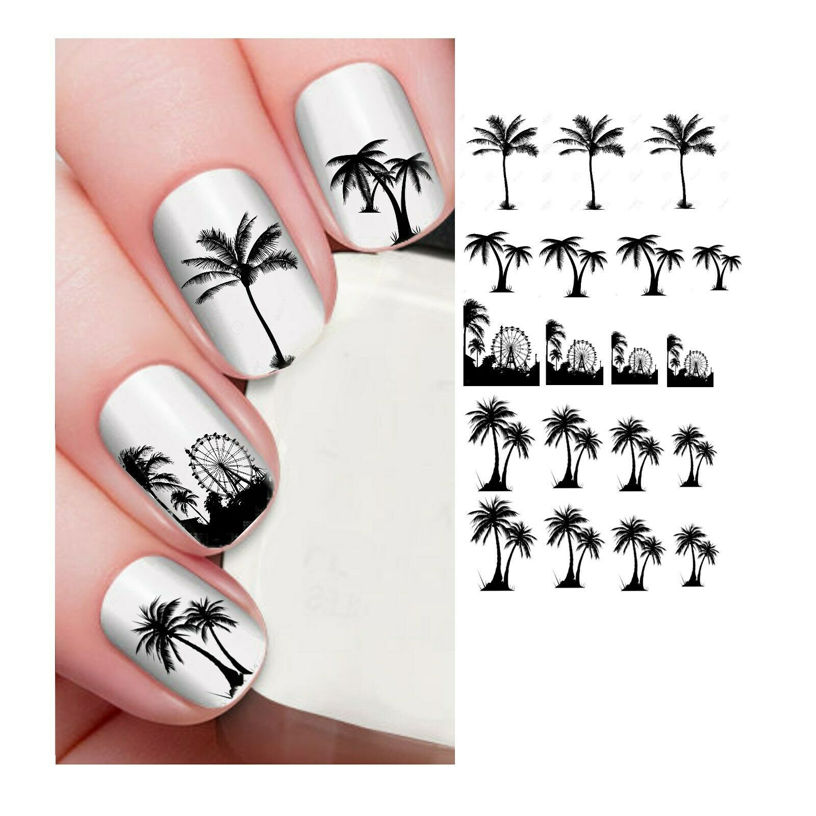 Summer Nail Decals Nail Art Water Decals Palm Trees Summer Etsy