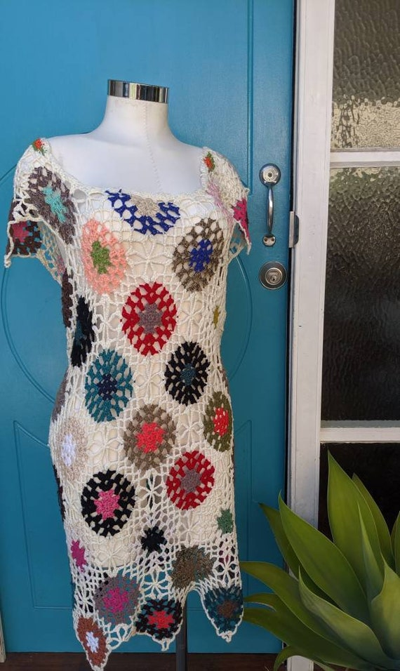 Crocheted Retro Dress Beach Cover-up