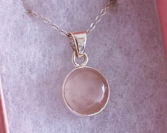 """Rose Quartz Sterling Silver Small Circular Crystal 18"""" Necklace / Encourages Self Love, Unconditional Love & Reduces Anxiety / Love Crystal"""