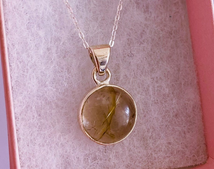 """Golden Rutilated Quartz Sterling Silver Crystal 18"""" Necklace / Reduce Depression, Dark Thoughts, Blocks Negativity / Eases Anxiety + Fear"""