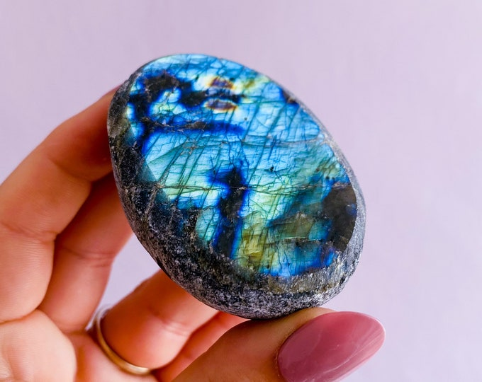 3) Super Flashy Blue Labradorite Dragon Egg Crystal / Helps Transformation & Change, Inspires You To Achieve Your Dreams / Uplifts Your Mood