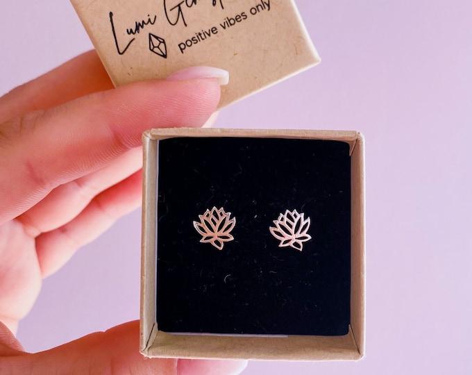 Lotus Flower Sterling Silver Earring Studs / Flower Earrings / Stud Earrings / Small Silver Earrings / Delicate Earrings / Christmas Gift