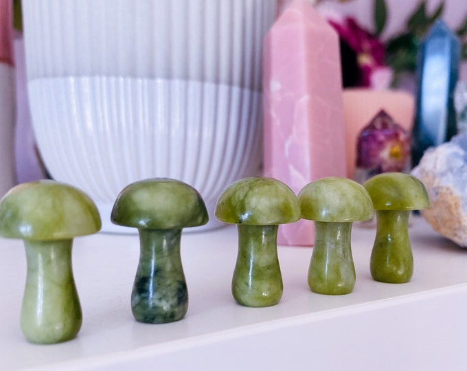 Jade Crystal Mushroom Toadstools / Brings Good Luck & Wealth / Prevents Illnesses / Brings Calm To Chaos / Increases Love, Trust, Fidelity