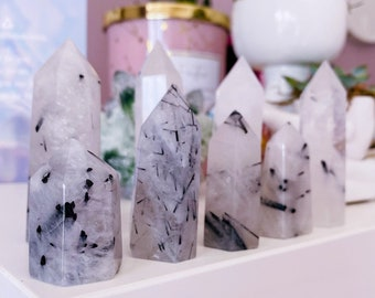 Black Tourmaline Rutile In Quartz Crystal Tower Points / Protect Against Negativity / Very Grounding / Help Us To Leave Bad Relationships