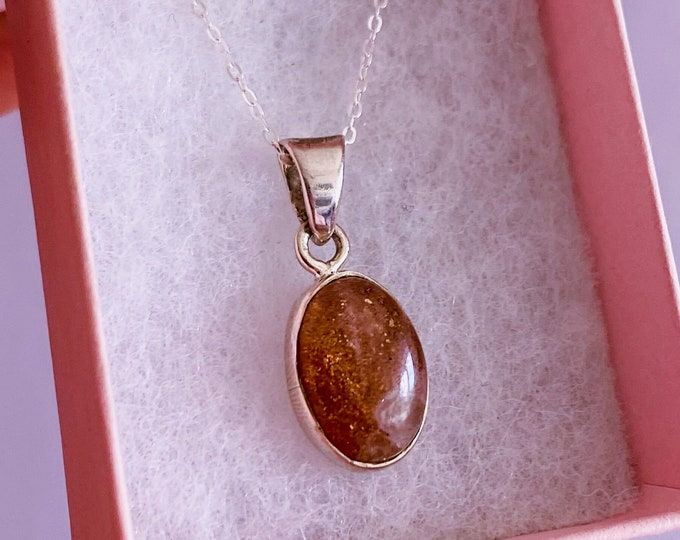 """Sunstone Sterling Silver Crystal 18"""" Necklace  / Relieves Depression, Low Mood, Anxiety / Encourages Optimism, Originality & Independence"""