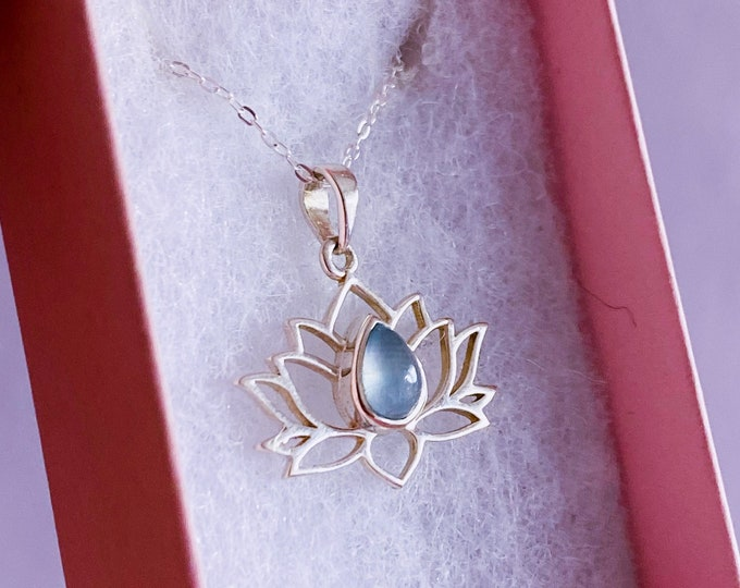 """Aquamarine Sterling Silver Lotus Flower Crystal 18"""" Necklace / Boost Courage / Reduce Stress & Encourages Calmness / Discourages Miscarriage"""