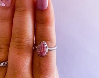 Rhodochrosite Sterling Silver Teardrop Crystal Ring Size P / Encourages Positivity & Joyfulness / Reduces Depression, Emotional Stress
