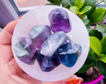 Rainbow Fluorite Medium Crystal Tumblestones / Absorbs Anxiety, Stress, Tension / Concentration / Good For Exams, New Job, Course Work