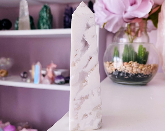2) SALE Snow Agate Druzy Crystal Tower / Releases Negativity, Stress & Tension / Encourages Spiritual + Angelic Communication / Purity
