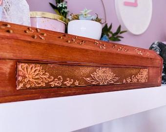 Natural Wooden Lotus Flower Incense Holder / Free Incense Sticks / Incense Stick Holder / Incense Sticks / Home Fragrance / Crystal Cleanse