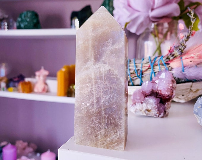 8) Rainbow Moonstone Crystal Tower / Improves Inner Confidence / Allows Us To See More Clearly / Positive Change / Life Changing Inspiration