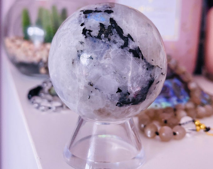 1) Rainbow Moonstone 40mm Crystal Sphere / Improves Inner Confidence / Brings Life Changing Inspiration