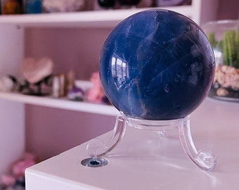 4) Rainbow Fluorite 45mm Crystal Sphere / Absorbs Anxiety, Stress, Tension / Concentration / Good For Exams, New Job, Course Work