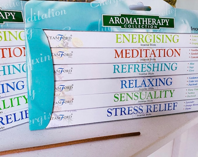 Aromatherapy Fragranced Incense Sticks / Energising, Meditation, Refreshing, Relaxing, Sensuality, Stress Relief / 6 Boxes Per Pack