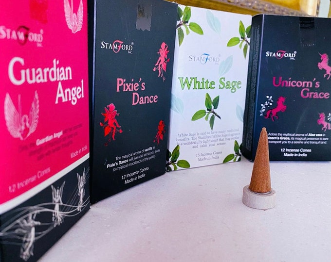 White Sage, Guardian Angel, Unicorns Grace, Pixie's Dance Fragranced Stamford Incense Cones / 12 Cones Per Pack / Home Fragrance