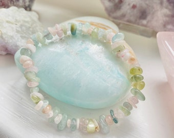 Morganite + Aquamarine Crystal Chip Bracelet / Crystal Of Unconditional Love / Cleanses, Activates Heart Chakra / Eases Emotional Trauma