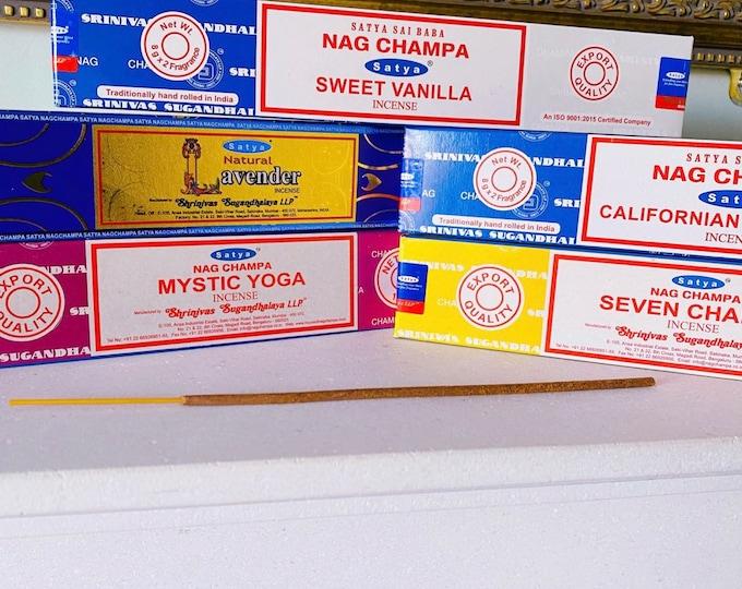 Lavender, Vanilla, Seven Chakra, Mystic Yoga, Sage Fragranced Satya Incense Sticks / Perfect For Meditation & Relaxing / 10 Per Pack