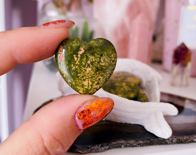 Unakite Jasper Crystal Flat Love Hearts / Balances The Emotional Body / A Great Healer For The Body & Mind / Nurturing, Loving, Compassion