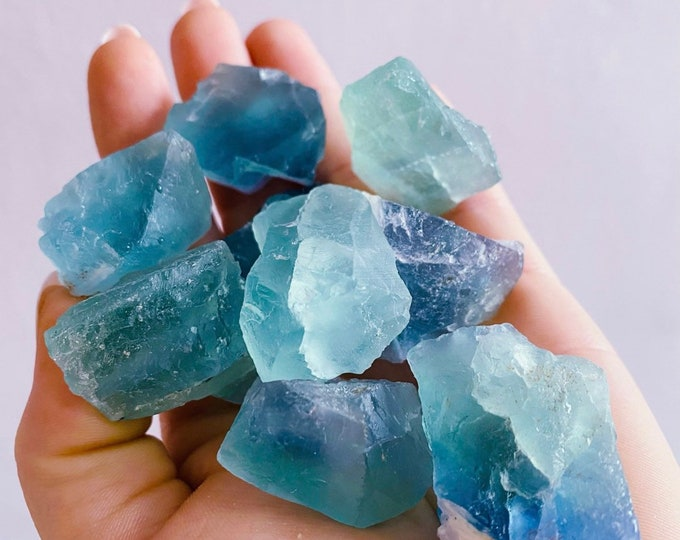 Featured listing image: Rainbow Fluorite Raw Natural Crystals / Absorbs Anxiety, Stress & Tension / Aids Concentration / Good For Exams, New Job, Course Work