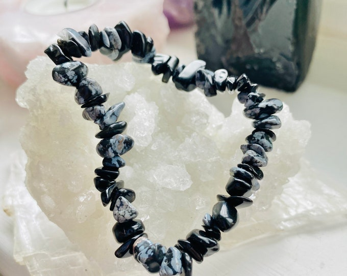 Snowflake Obsidian Crystal Chip Bracelet / Keeps You Calm & Focused During Chaos / Removes Negativity From People And Places