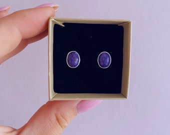 Sterling Silver Charoite Crystal Stud Earrings / Change & Positive Transformation / Reduces Stress, Worries / Works With Heart Chakra