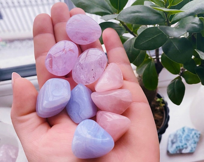 Calmness, Love & Spiritualism Trio Crystal Gift Set / Blue Lace Agate, Rose Quartz + Lilac Obsidian Crystal Tumblestones / Gift For Her