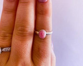 Rhodochrosite Sterling Silver Crystal Ring Size P / Encourages Positivity & Joyfulness / Reduces Depression, Emotional Stress