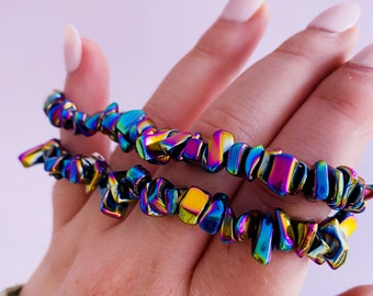 Rainbow Hematite Crystal Bracelet / Dissolves Negativity / Calms The Mind & Instils Inner Peace / Aids Concentrations / Links With Angels
