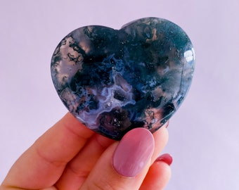 Medium Green Moss Agate Crystal Love Hearts / For New Beginnings / Refreshes The Soul / Improves Self Esteem / Reduces Depression