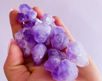 Cute Amethyst Crystal Cluster Points / Great Healer, Good For Anxiety, Calming The Mind & Sleeping Troubles / Great For Migraines / Relaxing