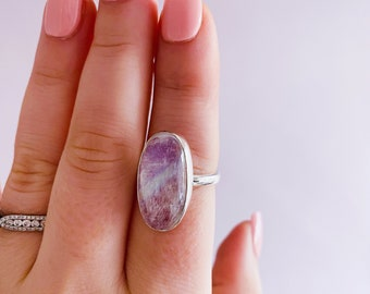 Sterling Silver Pink Moonstone Crystal Ring Size P 1/2 / Improves Inner Confidence / Allows Clear Vision / Life Changing Inspiration