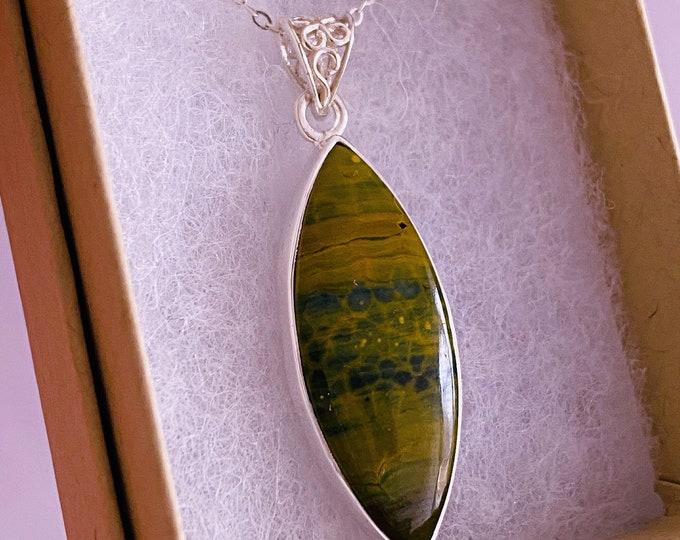 "Sterling Silver Orbicular Ocean Jasper Crystal 18"" Necklace / Nurturing & Protective / Encourages Patience, Releases Emotional Blockages"