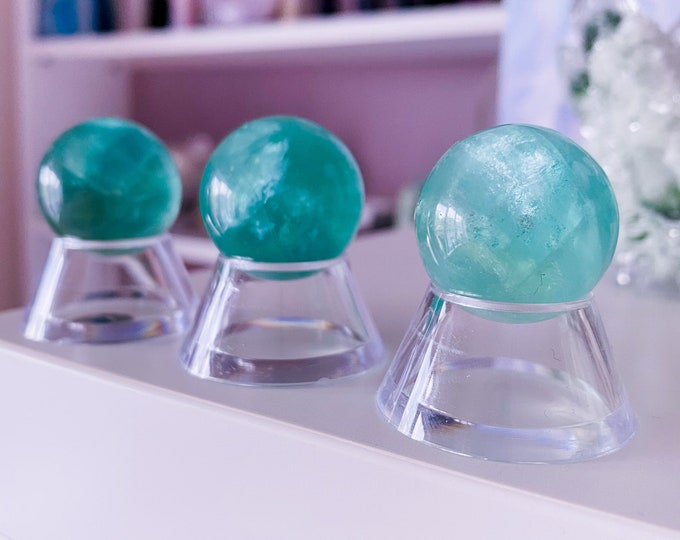 Green Fluorite 25mm Crystal Spheres / Absorbs Anxiety, Stress, Tension / Concentration / Good For Exams, New Job, Course Work