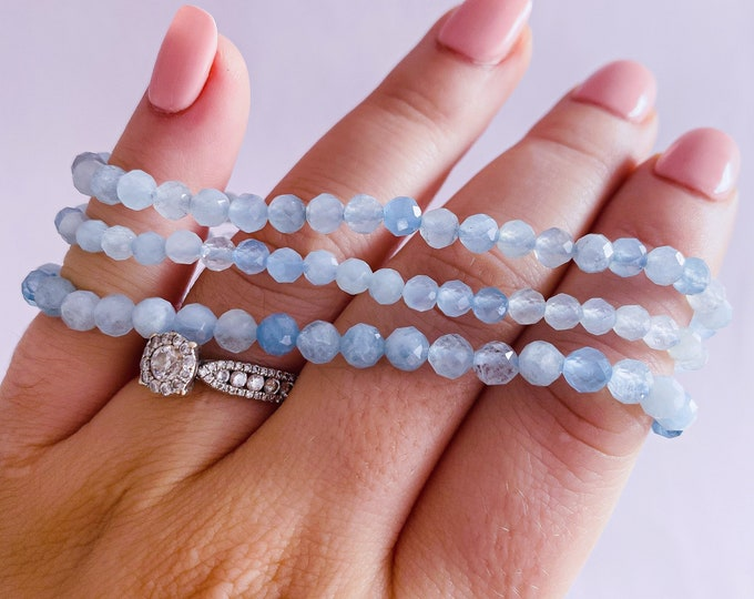 Faceted Aquamarine Crystal Bracelet / Boosts Courage / Reduces Stress & Encourages Calmness / Discourages Miscarriage / Protects Baby