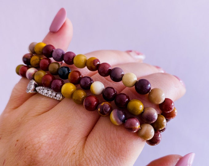 Mookaite Jasper Crystal Bead Bracelet / Heals Deep Emotional Wounds / Helps Depression / Brings Peace / Helps You Accept Change