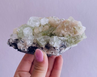 Green Apophyllite Specimen With Stilbite / Relieves Stress, Anxiety, Tension / Encourages Spiritual Awakening / Raises Your Spirits & Mood
