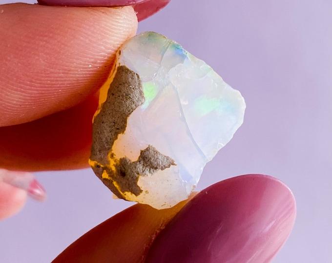Ethiopian Opal Flashy Raw Genuine Crystal / Encourages Positive Self Worth, Freedom & Independence / Spiritual + Psychic Crystal