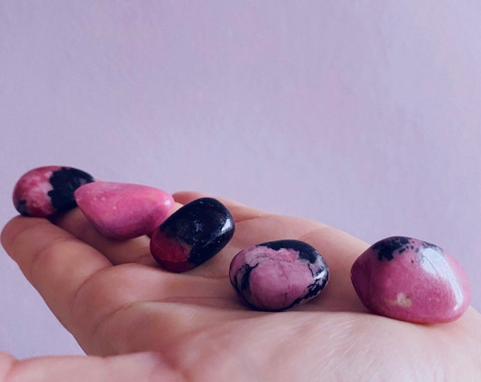 Rhodonite Grade A Crystal Polished Tumbles / Clears Emotional Scars & Lets You Move Forward / Mental Balance / Good For ME, Schizophrenia