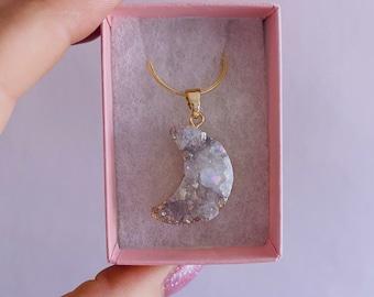Aura Quartz Moon Druzy Crystal Necklace Gold Plated / Helps Emotional Problems / Purifies Negativity / Boosts Creativity & Imagination
