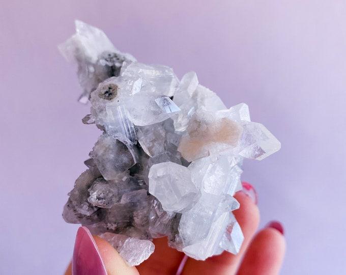 3) Apophyllite Stilbite Crystal Specimen / Relieves Stress, Anxiety, Tension / Encourages Spiritual Awakening / Raises Your Spirits & Mood