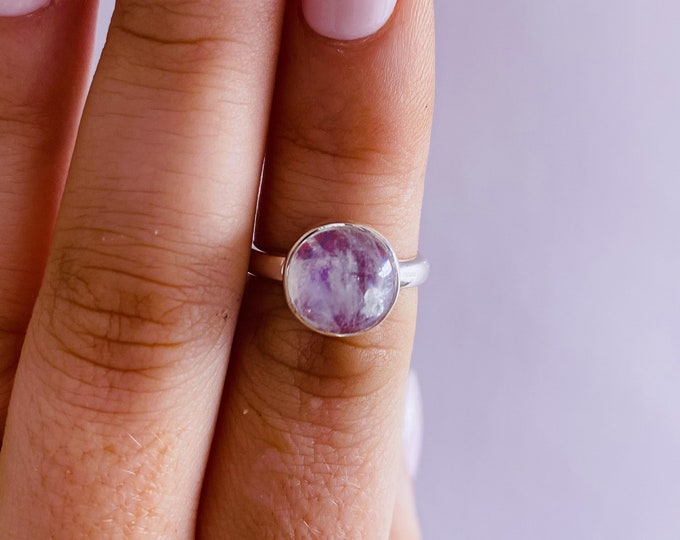 Sterling Silver Pink Moonstone Crystal Ring Size N / Improves Inner Confidence / Allows Us To See More Clearly / Life Changing Inspiration