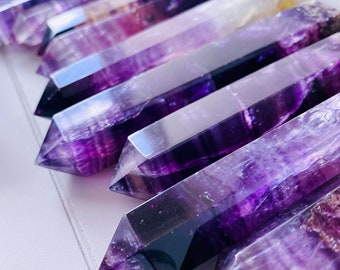 Pink Rainbow Fluorite Crystal Towers / Absorbs Anxiety, Stress & Tension / Aids Concentration / Good For Exams, New Job, Course Work