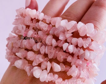 Madagascan Super Pink Rose Quartz Crystal Chip Bracelet / Encourages Self Love, Unconditional Love & Reduces Anxiety / The Crystal Of Love