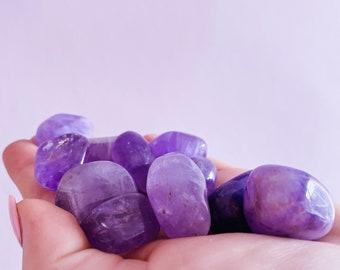 Medium & Small Brazilian 1st Grade Amethyst Tumblestones / Great Healer, Good For Anxiety, Stress, Sleeping Troubles + Migraines