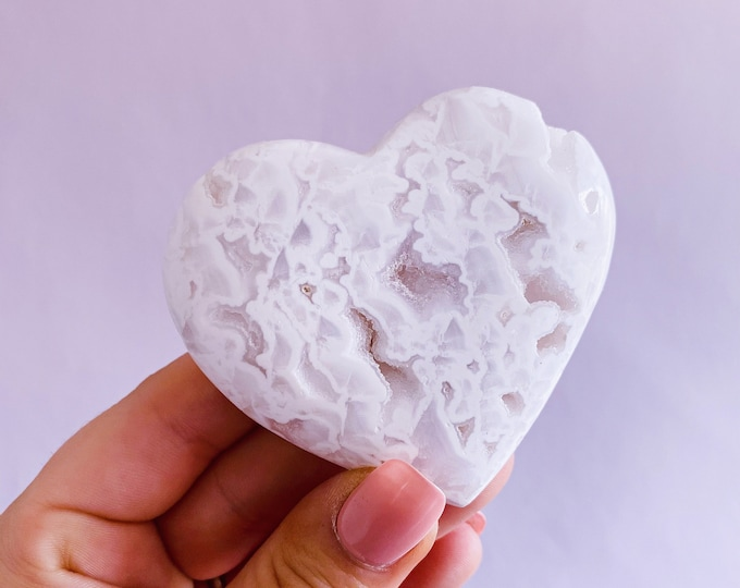 Snow Druzy Agate Crystal Hearts / Releases Negativity, Stress & Tension / Encourages Spiritual + Angelic Communication / Purity